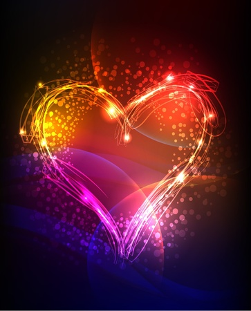 neon background with heart  Illustration