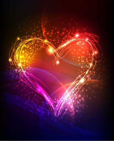 neon pozadí se srdcem