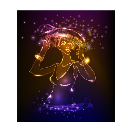 laser tag: lady in hat  neon  collection  Illustration