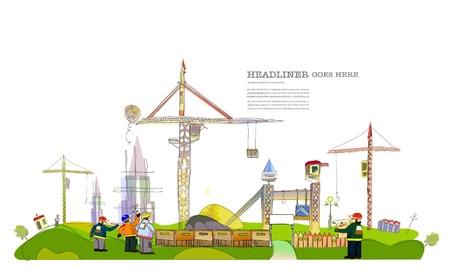 industrial landscape: illustrazione del sito di costruzione