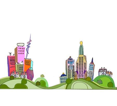 car pollution: city illustration