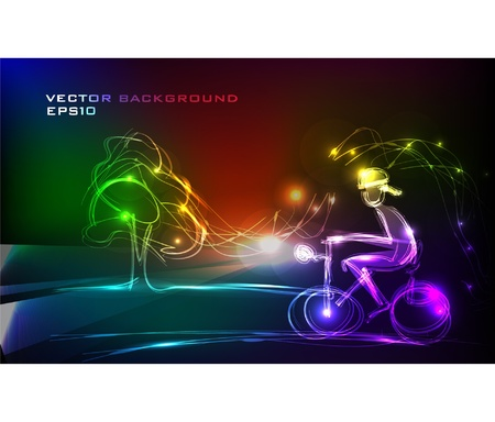 bicycle silhouette: neon rider