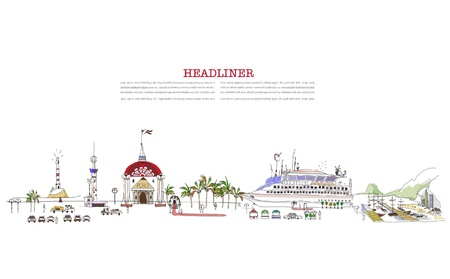 holliday: cruise ship about to leave for holliday Illustration