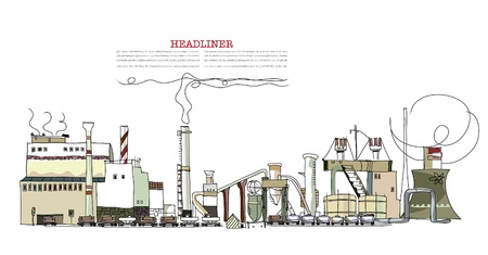 nuclear reactor: industrial zone illustration