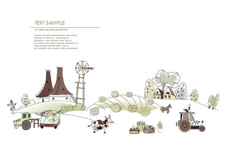 farm equipment: farm landscape Illustration