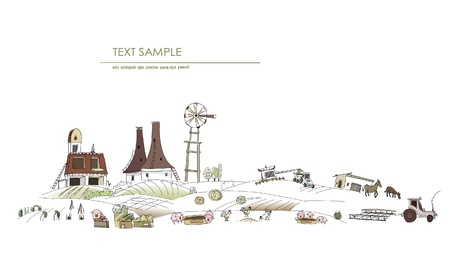 food industry: farm landscape Illustration