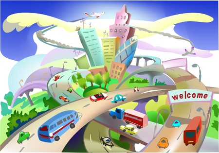 rural road: busy roads and city illustration Illustration