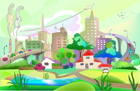 rural road: city and countryside illustration