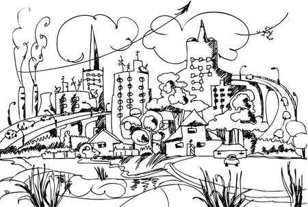 city and countryside doodle Vector