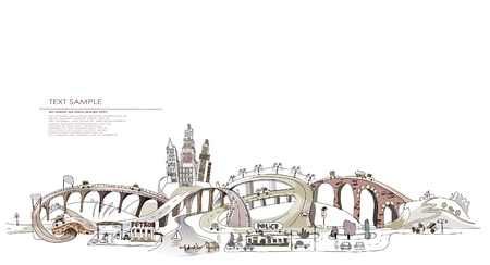 commute: motorway and city illustration Illustration