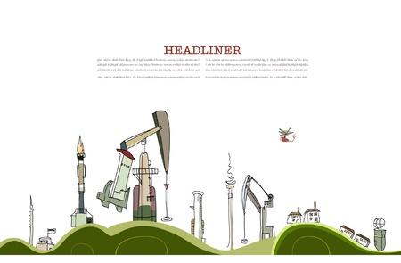 industria petrolera: Planeta bombeada fuertemente por la industria petrolera  Vectores