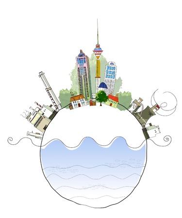 planeta tierra feliz: ciudad y indastry Vectores