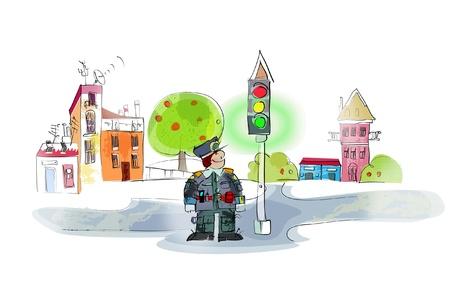 policeman on duty  Vector