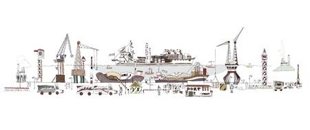 embarque: Ilustraci�n de gran puerto