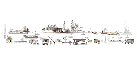 ship package: Big port illustration