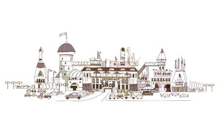 shopping center: shopping center illustration Illustration