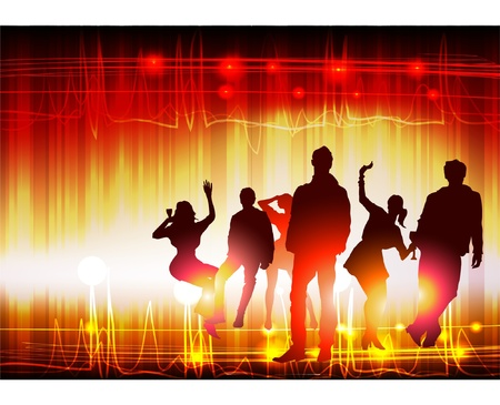 sexy woman disco: background with young people Illustration