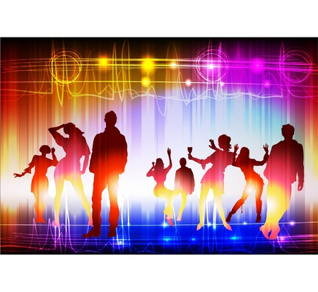 neon party: neon night club Vettoriali