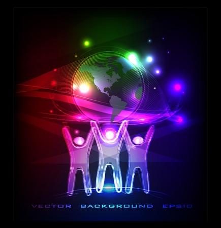 neon people holding globe  Vector