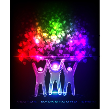 neon people rising up a lots of hearts Vector
