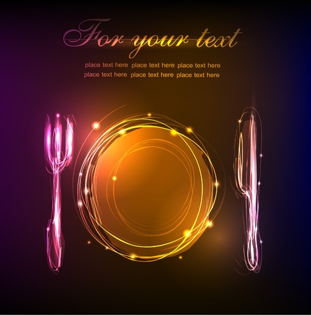 diners: neon background Table set (restaurant menu)