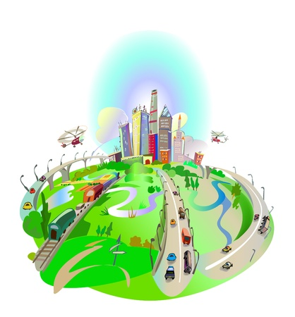 Roads led to the city  Vector