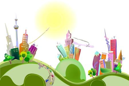 urban environments: tree cities on the hills Illustration