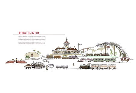 railway engine: railway station with a lot of details Illustration