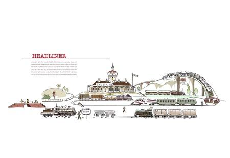 treinstation met veel details Stock Illustratie