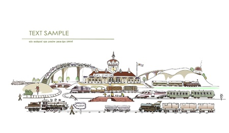 railway station: railway station with a lot of details Illustration