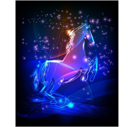 caballos corriendo: neón caballo