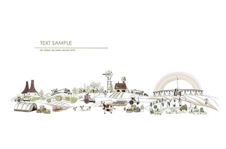 big farm  illustration Vector