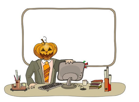 work environment: Halloween background with office worker Illustration