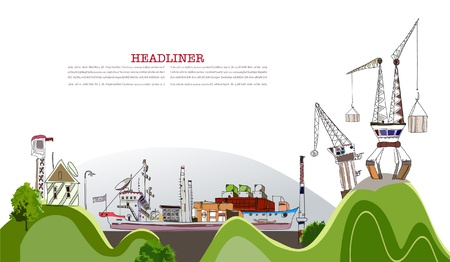 ship package: port illustration Illustration