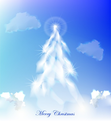 Christmas tree made of clouds Vector