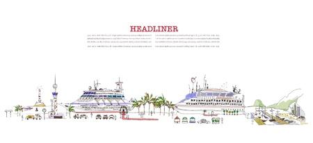 harbour: nave da crociera in procinto di partire Vettoriali