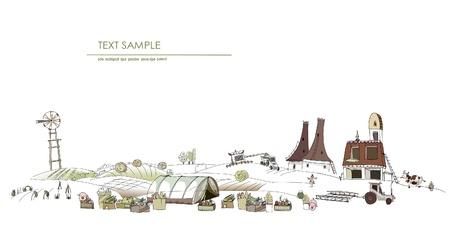cultivating: Ilustraci�n de historias de granja Vectores
