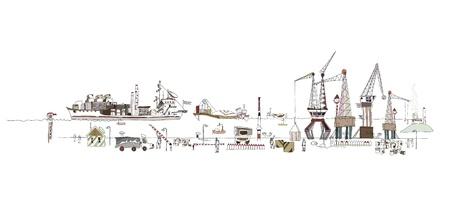 sea port: illustrationof big port