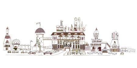 megalopolis: shopping center doodle