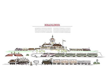 diesel train: railway station illustration with a lot of details
