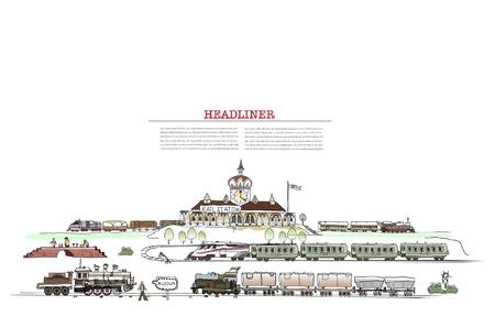 estación del metro: tren la estaci�n de ilustraci�n con un mont�n de detalles Vectores