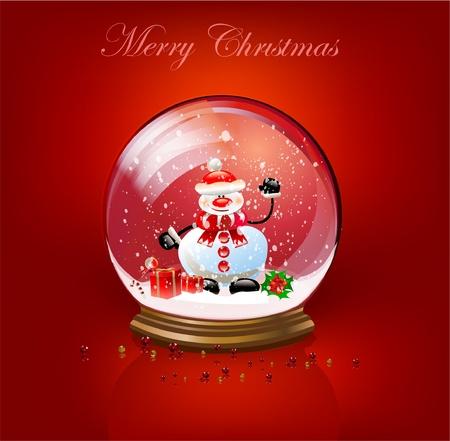 Sneeuw bal Kerst achtergrond Vector Illustratie