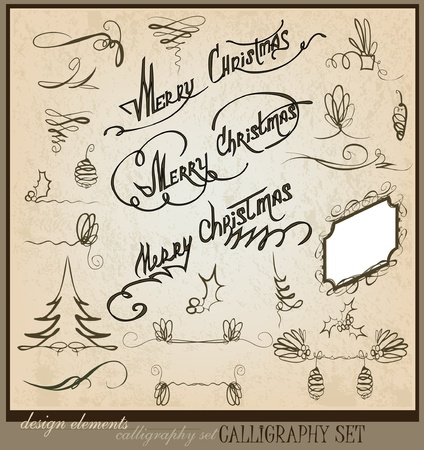 hollies: Merry Christmas calligraphic set Illustration