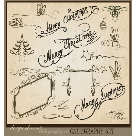 Merry Christmas calligraphic set Vector