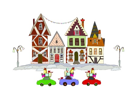 building trade: Christmas street and cars caring presents Illustration