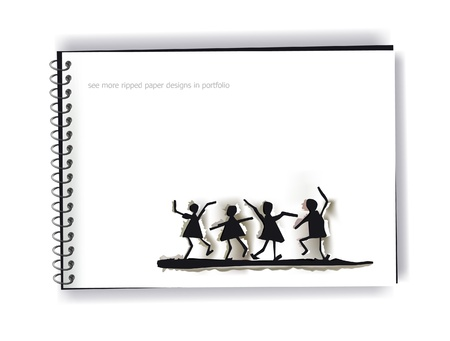 ripped paper dancing people on the notepage Vector