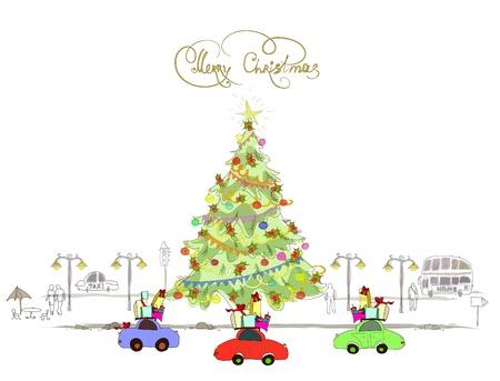 Christmas street Stock Vector - 10742733