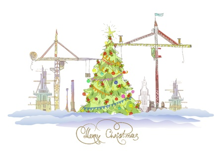 Christmas on the biulding site Vector