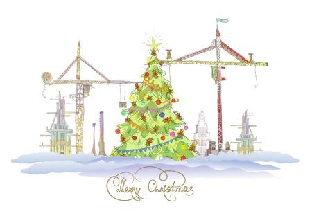 steel construction: Natale sul sito biulding Vettoriali