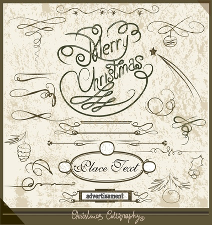 floral scroll: Christmas Calligraphic set  Illustration